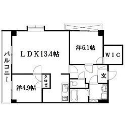 静岡県浜松市中区上浅田1丁目の賃貸マンションの間取り