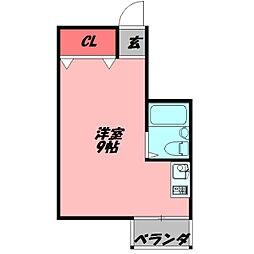フォルム太子橋 4階ワンルームの間取り