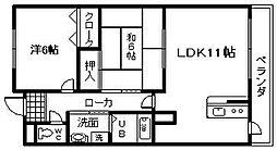 RIZE ONE岸和田 西 レジデンス南館[102号室]の間取り