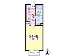JR東北本線 東福島駅 徒歩4分の賃貸アパート 1階1Kの間取り