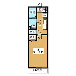 リブリ・フォンテーヌ新松戸 2階1Kの間取り