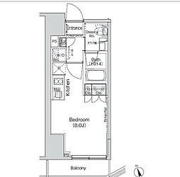 都営三田線 御成門駅 徒歩6分の賃貸マンション 8階ワンルームの間取り