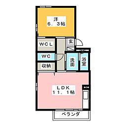 愛知県名古屋市中川区中島新町3の賃貸アパートの間取り