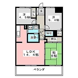 ライオンズマンション七北田公園[3階]の間取り
