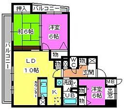 グランシャリオ高宮[7階]の間取り