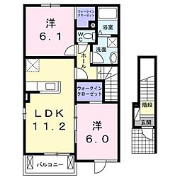 JR相模線 入谷駅 徒歩14分の賃貸アパート 2階2LDKの間取り