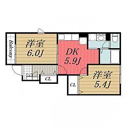 千葉県香取市牧野の賃貸アパートの間取り