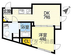 NOZOMIO OHIMACHI TERRACE 4階1DKの間取り