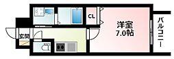 Osaka Metro御堂筋線 江坂駅 徒歩5分の賃貸マンション 14階1Kの間取り