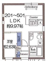 東京メトロ東西線 木場駅 徒歩8分の賃貸マンション 3階1LDKの間取り
