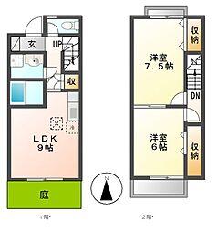 愛知県あま市甚目寺山王の賃貸アパートの間取り