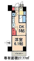 東京メトロ日比谷線 三ノ輪駅 徒歩8分の賃貸マンション 6階1DKの間取り