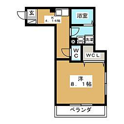 La SyLph IKEBUKURO 2階1Kの間取り