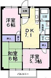 南海高野線 萩原天神駅 徒歩10分の賃貸アパート 1階3DKの間取り