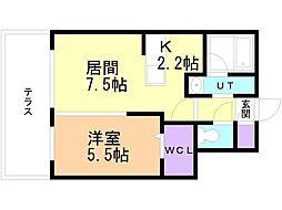癒禅(ユウゼン)32 1階1LDKの間取り