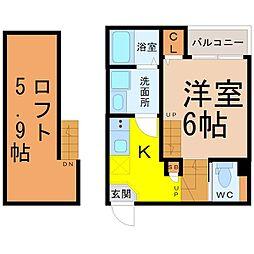 (仮称)中村区高須賀町(3)新築アパート 1階1Kの間取り