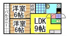 福岡県北九州市八幡西区本城東2丁目の賃貸アパートの間取り