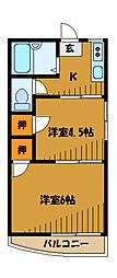 東京都国分寺市南町の賃貸アパートの間取り