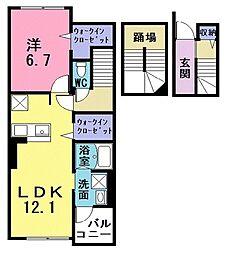 西武池袋線 ひばりヶ丘駅 バス5分 火の見下下車 徒歩4分の賃貸アパート 3階1LDKの間取り
