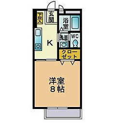 福岡県北九州市小倉北区三郎丸1丁目の賃貸アパートの間取り