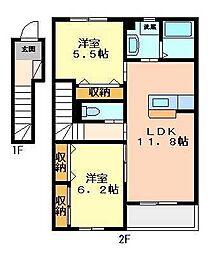 ツインズII番館[1階]の間取り