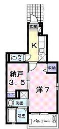 香川県丸亀市城東町1丁目の賃貸アパートの間取り