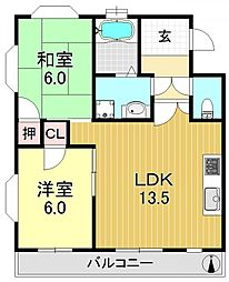 平野第一マンション[2O3号室号室]の間取り