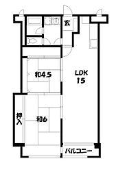 賀陽コーポラス[4階]の間取り