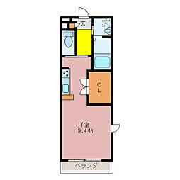 ライフコート久居野村 2階ワンルームの間取り
