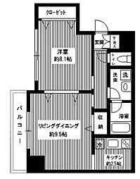 ヴェルト日本橋シティ 7階1LDKの間取り