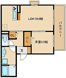 (仮称)D-room法善寺 A棟[3階]の間取り