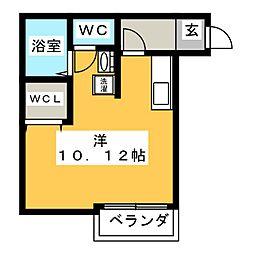 デ・ローサ 1階ワンルームの間取り