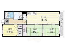 JR東海道・山陽本線 岸辺駅 徒歩14分の賃貸マンション 3階3LDKの間取り