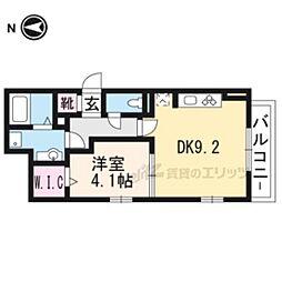 JR奈良線 JR藤森駅 徒歩7分の賃貸アパート 2階1DKの間取り