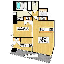 プラネスーペリア京都四条河原町[7階]の間取り
