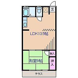 神奈川県横浜市鶴見区北寺尾7丁目の賃貸アパートの間取り
