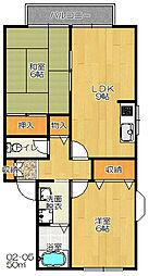 エバーグリーンハイツA棟B棟[2階]の間取り