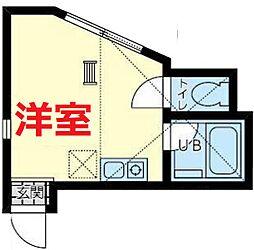 ユナイト横浜ジャン・ピエトロ 1階ワンルームの間取り