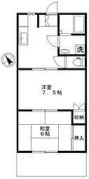 東京都世田谷区大蔵4丁目の賃貸アパートの間取り