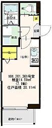仮称:ハ−モニ−テラス・大阪市西淀川区歌島一丁目8B[101号室]の間取り