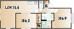 グリーンビレッジ湯川II A棟[1階]の間取り