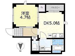 JR総武線 両国駅 徒歩13分の賃貸マンション 2階1DKの間取り