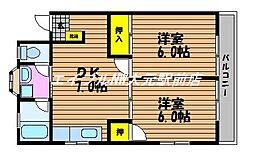 岡山県岡山市南区築港緑町1丁目の賃貸アパートの間取り