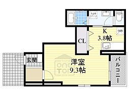 Osaka Metro今里筋線 清水駅 徒歩11分の賃貸アパート 1階ワンルームの間取り
