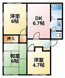 千葉県東金市台方の賃貸アパートの間取り