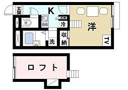 奈良県奈良市恋の窪東町の賃貸アパートの間取り
