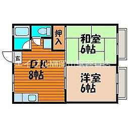 岡山県岡山市中区平井7丁目の賃貸アパートの間取り