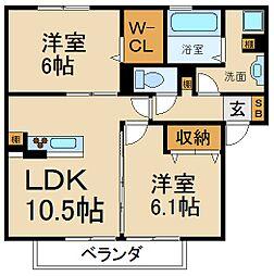 大阪府寝屋川市田井町の賃貸アパートの間取り
