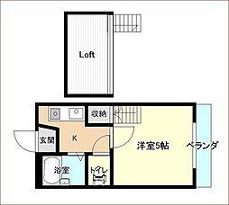横広コーポ[1階]の間取り