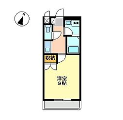 愛知県稲沢市下津小井戸1丁目の賃貸アパートの間取り